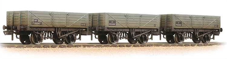 Pack of 3 former private owner open cal wagons finished in British Railways grey livery