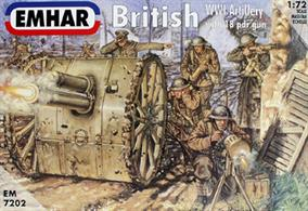 Emhar 1/72 British WW1 Artillery 24 Figures & 2 18Pdr Guns EM7202Contains 24 unpainted figures + 2 guns