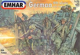 Emhar 1/72 German Infantry & Tank Crew WW1 EM7203Box contains 48 unpainted figures in 12 different poses.Glue and paints are required to assemble and complete the model (not included)