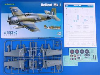 Weekend edition kit of Hellcat Mk.I in 1/48 scale.plastic parts: EduardNo. of decal options: 2decals: EduardPE parts: nopainting mask: noresin parts: no
