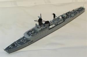 This is a model of HMS Relentless c.1953. The kit contains a resin hull and super structure, white metal fittings, photo etched detail and decals. HMS Relentless was one of 23 Type 15 Frigates in the Royal Navy