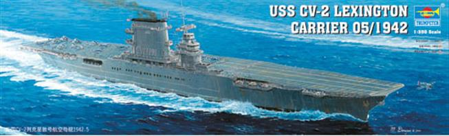 Trumpeter 1/350 USS Lexington CV-2 WW2 American Carrier 05608Number of Parts 583Model Length 773.8mm  Width 108mmGlue and paints are required