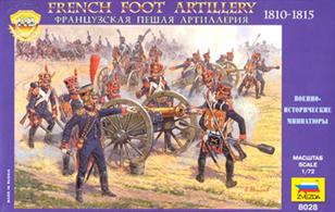 Zvezda 1/72 French Foot Artillery 1812-1814 Plastic Figure Set 8028Foot field artillery took part in all battles of the Napoleonic Wars. The set includes cannon,gunner crews, artillery limbers, horses, and an ammunition wagon.