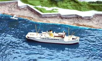 A 1/1250 scale model of the Lehmann Line ferry Dania (ex-Frem of 1924 running from Denmark to Bornholm) in 1953 by Albatros SM AL283A. Albatros are proposing to make Frem.This ship ran from Lubeck to Helsingboarg via Travemunde and Copenhagen from 1953 to 1958 but was then sold to Saudi Arabia as MS Arafat. She sank in 1978.