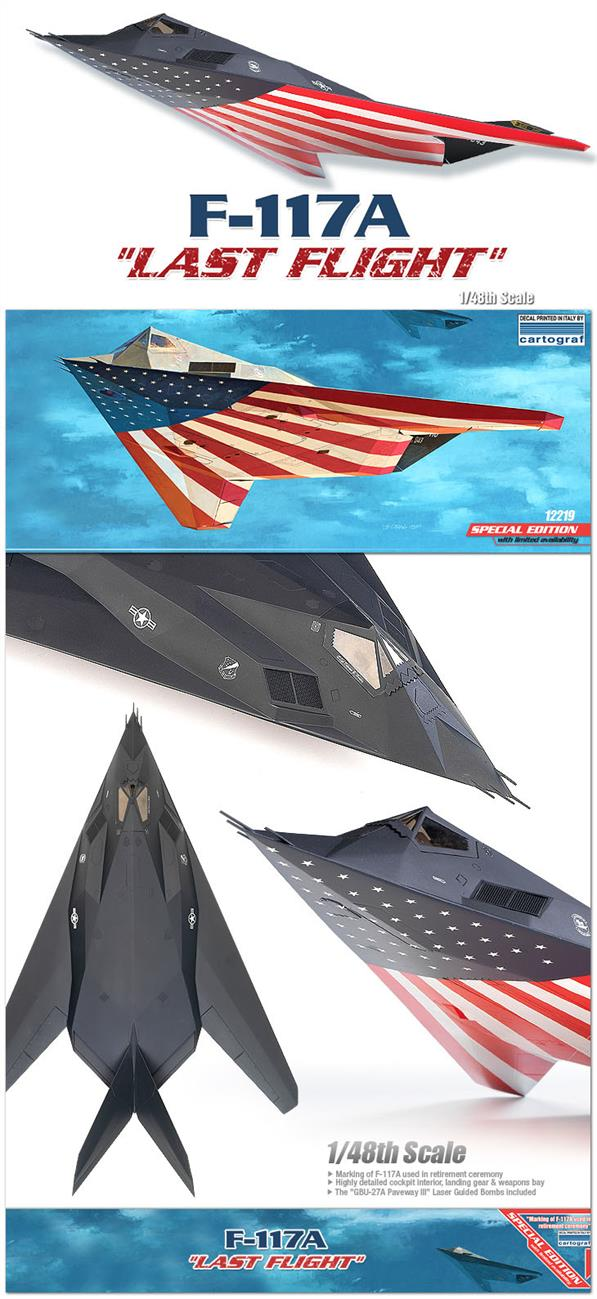 Academy 12219 a 1/48th scale plastic kit of the Last Flight Liveried USAF F-114A Stealth Fighter Bomber