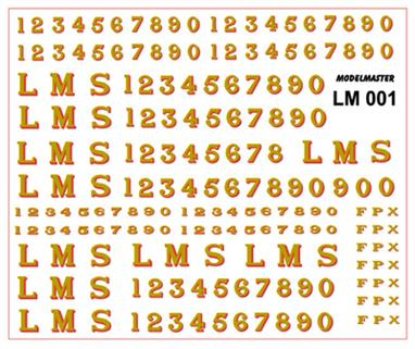 Modelmaster Decals MMLM001 00 Gauge LMS 1923-1947 Serif Locomotive Lettering and NumberingDecal sheet of LMS gold lettering with red shading as used throughout the companys' existance on crimson lake liveried passenger locomotives.The sheet includes numbers in several sizes, check photographs for details as the size of the numbers was choosen to fit the space available, but sometimes whichever transfers were in stock were used!