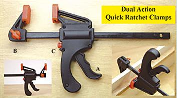 Dual action quick ratchet clamps