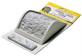 This innovative mold is ideal for casting realistic rock walls and ceilings for scale tunnels on your pike. It is designed to form half of either a single or double liner section with each pour of Lightweight Hydrocal. HO scale. Use a spatula to fill the Tunnel Liner Form with Lightweight Hydrocal®*. Join two half sections on top with a strip of Plaster Cloth which forms a hinge. Join completed units on one side for a longer tunnel. The unattached side can be raised for track maintenance.Can be used to make tunnels for N, HO and OO.