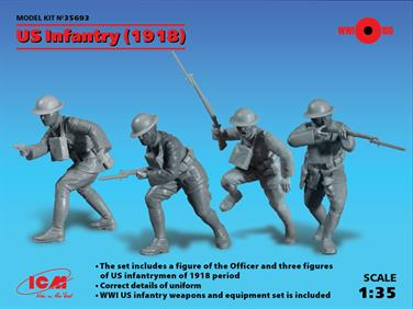 35693 U.S. Infantry (1918) (4 figures) (WWI) The set includes a figure of the Officer and three figures of US infantrymen of World War 1 1918 period with infantry weapons and equipment