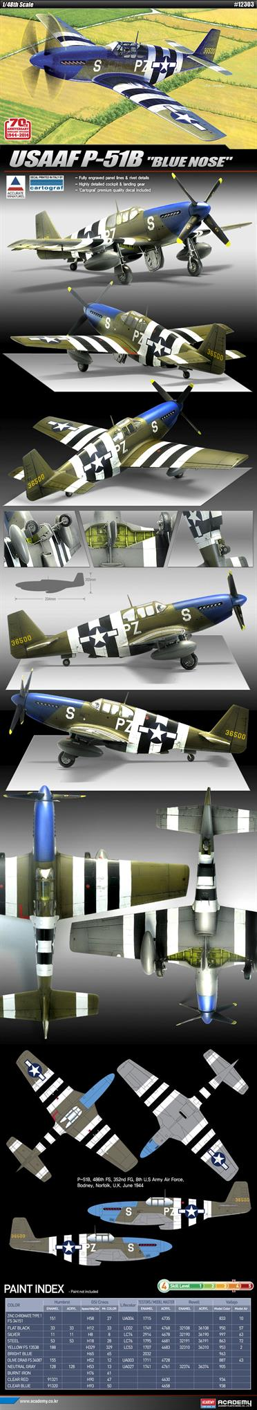 Academy's 12303 1/48th Scale 70th Anniversary of Normandy Invasion Plastic Kit of a USAAF P-51B Blue Nose Fighter