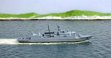 A 1/1250 scale metal model of an Incheon-class frigate from South Korea. The model has the pennant number for Incheon. 5 have been commissioned, a sixth should commission this year and a seventh is under construction.