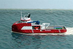 "A 1/1250 scale metal model of Kroonborg, an off-shore support vessel (SOV) to service unmanned rigs on a ""walk to work"" scheme.."