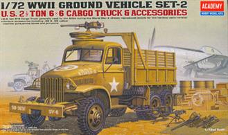 Academy 1/72 US 2.5 ton 6x6 Cargo Truck with Accessories WWII 13402WWII Ground Vehicle Set 2, gives an accurate reproduction of this light vehicle used by Allies during WWII.Glue and paints are required.