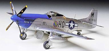 "Tamiya 1/72 P-51D Mustang Fighter aircraft Kit 60749Detailed 1/72nd scale for static display. Ready to assemble precision model kit with fine recessed panel lines on fuselage and wings. Detailed landing gear and wheel wells. Detailed cockpit. Choice of Dallas-built canopy or a normal canopy, each in the ""bubble"" design. Two 75 gallon drop tanks. 4-bladed propeller on nose. Waterslide decals and detailed pictorial instructions.Glue and paints are required"