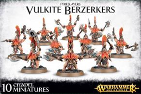 This multi-part plastic kit contains all the components necessary to assemble 10 Vulkite Berzerkers, determined and strong warriors of the Fyreslayers.This kit contains seventy-four components in total, and includes 10 Citadel 32mm Round bases.