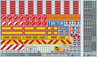 Warning signbs and lettering stickers set for 1:14 scale trucks, tractors and trailers
