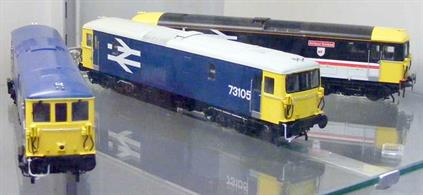 A highly detailed model of the BR Southern region class 73 electro-diesel locomotive finished in South West Trains livery.South West Trains leased this class 73 as a 'Thunderbird' rescue locomotive to attend failed units and get them moved quickly, with diesel power being available if the traction current needed to be discharged. The locomotive is currently leased to SWT successors South Western Railway.