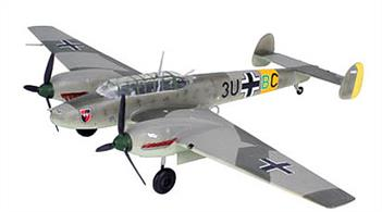 Revell 1/72 Messerschmitt BF 110 E-1 German WW2 Fighter Bomber Kit 04341Model-details: - Structural details shown on surfaces - two pilot figures - movable propeller - 6 bombs - undercarriage optionally extended or retracted - decals for 2 Luftwaffe versionsNo. of parts 46, Length 167mm , wingspan 224mm.Glue and paints are required
