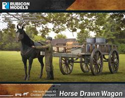 Detailed plastic model kit building a civilian horse drawn farm cart with horse.
