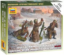 Zvezda 1/72 Soviet 82mm Mortar with Crew Winter Uniform 6208