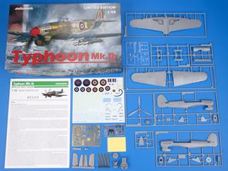 Limited Edition kit of British WWII fighter aircraft Typhoon Mk.Ib with bubble canopy in 1/48 scale.