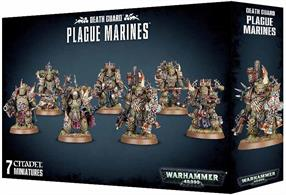 This multi-part plastic kit contains the components necessary to assemble a 7-man squad of Plague Marines. This kit comes as 146 components, and is supplied with 7 Citadel 32mm Round bases.