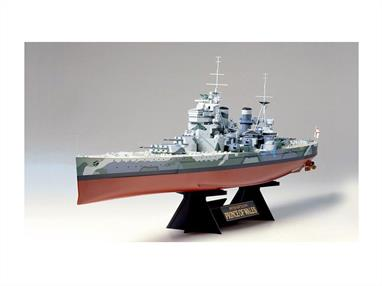 This quality 1/350th scale 78011 Tamiya Kit of the HMS Prince of Wales a British Battleship is a must for all battleship enthusiasts. This kit contains a ready to assemble plastic kit in 1:350th scale.  Finished model length is 649 mm. As with all Tamiya models the detail is excellent.