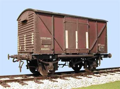 Model kit building a detailed replica of the British Railways shock absorbing covered box van, complete with underframe details for the visible areas behind the headstocks.Supplied with metal wheels, 3 link couplings and sprung buffers