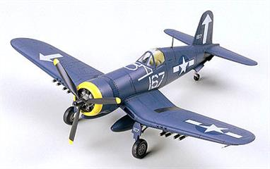 Tamiya 1/72 US Marine Corp Vought F4U-1D Corsair WW2 Fighter Kit 60752Ready to assemble precision model kit. Realistic gauges and flight control equipment fill the cockpit. Landing gear is in great detail. This plane comes with two large drop tanks. Various underwing armament included: rockets, bombs. Powered by one 3-blade propeller engine.