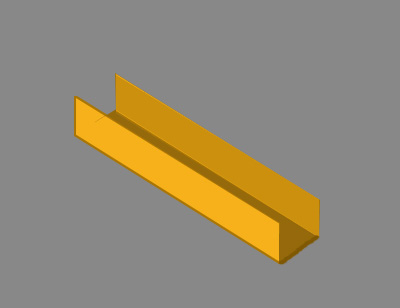 1.5mm x 1.5mm x 1.5mm brass U channel section milled from solid bar stock.