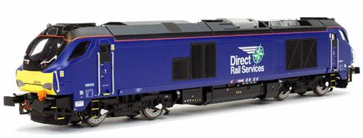 Dapol 4D-022-015 00 Gauge DRS 68026 Class 68 Bo-Bo Diesel Locomotive DRS Plain Blue LiveryModel of DRS class 68 locomotive 68026 finished in plain blue livery.68026 will become one of the TransPennine Express locomotives so has been delivered in a plain livery with small DRS compass logo.
