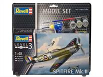 Revell 1/48 RAF Spitfire Mk2 Model Set 63959Length 188mm	Number of Parts 34		Wingspan 225mmComes with glue and paints to assemble and complete the model