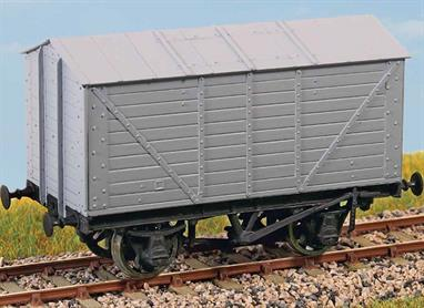Built in the 1920s, these vehicles carried grain to distilleries, breweries and flour mills. Examples of these interesting wagons lasted in service until as late as 1970. These finely moulded plastic wagon kits come complete with pin point axle wheels and bearings.Glue and paints are required to assemble and complete the model (not included)