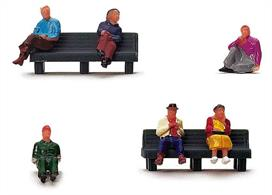 Pack of seated figures to add passengers waiting for the trains at a railway station.