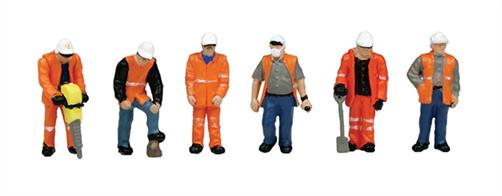 Bachmann's 36-049 Pack of 6 track workers in high visibility clothing.