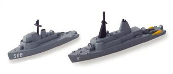 Waterline metal models of two US Navy minesweepers. USS Guardian MCM 5 & USS Acme MSO 508.MCM 5 USS Guardian 2.24 in (5.7 cm)MSO 508 USS Acme 1.73 in (4.4 cm)