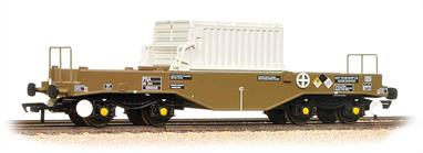 A detailed model of the FNA smooth sided nuclear flask carrier wagon with hood cover in place.This model is of wagon 550043, with the large numeral shown on the flask cover. This is a later build wagon, featuring sloping floors to promote self-draining of water while the wagons are washed down. Oval head buffers are fitted to this batch of wagons.