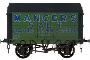 A finely detailed model of a covered salt van built to the RCH 1887 design specification for the Manger's Salt company of Stafford, Lymm and London, their fleet number 148.Model with weathered finish.