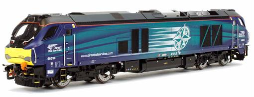 Dapol 4D-022-016 00 Gauge DRS 68034 Class 68 Bo-Bo Diesel Locomotive DRS Compass LiveryA highly detailed model of the Vossloh built DRS class 68 locomotives finished as 68034 in the DRS blue compass livery.68034 is planned to be one of the standby locomotives for TPE services, so will likely be seen with the TPE trains occasionally as the liveried locomotives are stopped for cyclic maintenance.