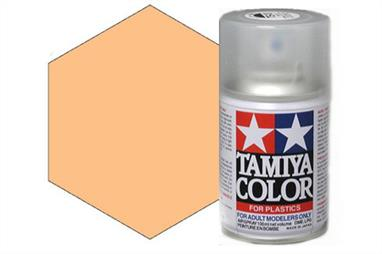 Tamiya TS77 Flat Flesh Synthetic Lacquer Spray Paint 100ml TS-77These cans of spray paint are extremely useful for painting large surfaces, the paint is a synthetic lacquer that cures in a short period of time. Each can contains 100ml of paint, which is enough to fully cover 2 or 3, 1/24 scale sized car bodies.