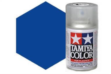 Tamiya TS50 Mica Blue Synthetic Lacquer Spray Paint 100ml TS-50These cans of spray paint are extremely useful for painting large surfaces, the paint is a synthetic lacquer that cures in a short period of time. Each can contains 100ml of paint, which is enough to fully cover 2 or 3, 1/24 scale sized car bodies.