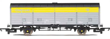 Model of a BR long-wheelbase ZRA covered van in service with the civil engineers department for conveying engineering parts and equipment by Speedlink trains. Wagon DC200488 painted in the engineers grey and yellow 'Dutch' livery with Civil Link lettering.