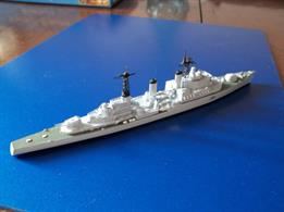 This is a model of HMS Lion c.1960 at the time of her first commission. The kit contains a resin hull and super structure, white metal fittings, photo etched detail and decals. HMS Lion was the second of three Tiger Class Cruisers in the Royal Navy. A painted preproduction Lion is illustrated, before repositioning of the forward gun turret. Now in stock!