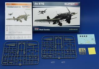 This kit is Dual Combo - i.e. two sets of plastic parts in one box.Marking options:Ju 87G-2, flown by Hans Ulrich Rudel, SG 2, Eastern front, 1944-45Ju 87G-2, SG 2, Eastern front, 1944-45