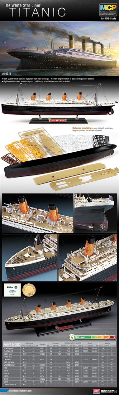 Academy 1/400 RMS Titanic Ocean Liner Plastic Kit 14215The Titanic sailed on her first and final voyage from Southampton, England on April 10th, 1912. Late on the night of April 14th, the ship struck an iceberg in the North Atlantic and sank just 2 hours and 40 minutes later. Glue and paints are required