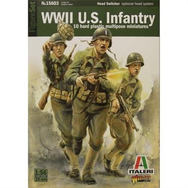 Italieri W15603 1/56 ScaleWW2 US InfantryThe kit recreates a set of real life American soldiers from World War II. The set contains 10 figures.