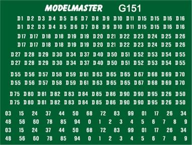 Modelmaster Decals MMG151 00 Gauge British Railways D-series Diesel Locomotive Numbers