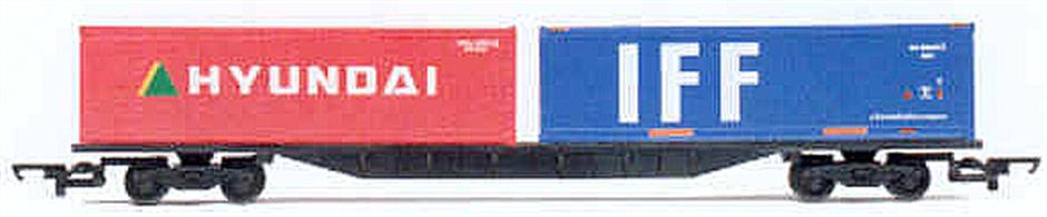 Two standard containers suitable as loads or trackside.