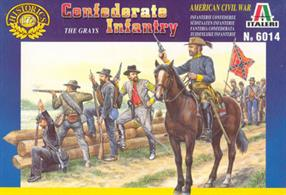 Italeri 1/72 Confederate Infantry Plastic Figures 6014Box contains 50 foot figures, 1 mounted figure and 1 horse.
