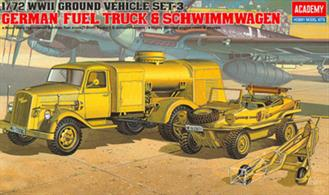 Academy 1/72 German Fuel Truck and Schwimmwagen 13401WW2 Ground Vehicle Set 3, is an accurate reproduction of light vehicles used by Axis.Glue and paints are required
